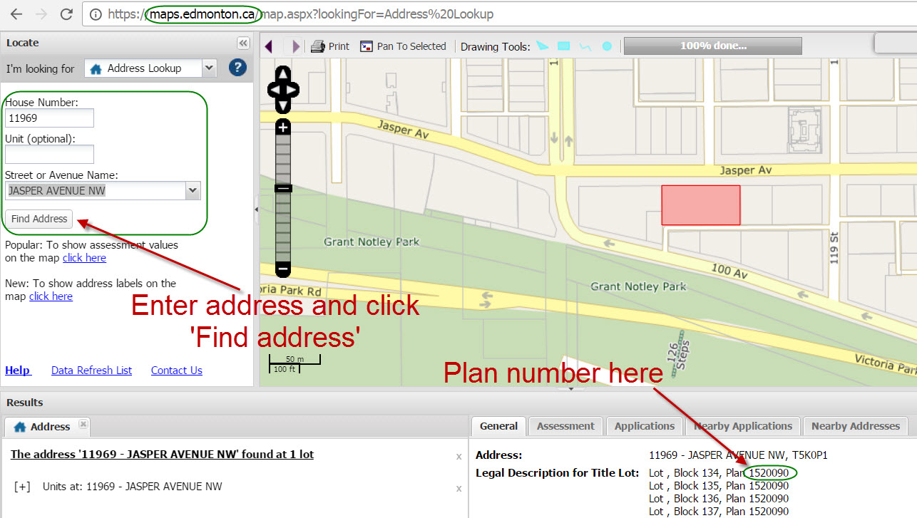 find condo plan number using city of edmonton maps website. how to find condo property manager contact info  real estate